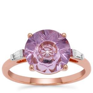 Lehrer Quasar Cut Rose De France Amethyst Ring with Ring Zircon in 9K Rose Gold 2.95cts