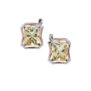 Barion Cut Lemon Quartz & White Zircon Rose Midas Earrings ATGW 8.60cts