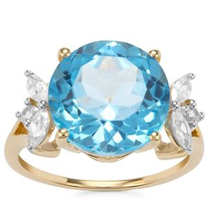 Swiss Blue Topaz Ring with White Zircon in 10K Gold 8.45cts