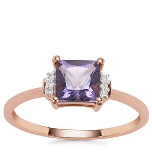 Montezuma Blue Quartz Ring with Diamond in 9K Rose Gold 1.03cts