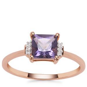 Montezuma Blue Quartz Ring with Diamond in 9K Rose Gold 1.03cts