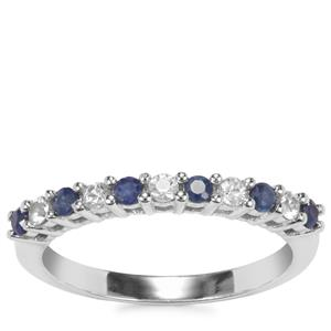 Blue Sapphire Ring with White Sapphire in Sterling Silver 0.51ct