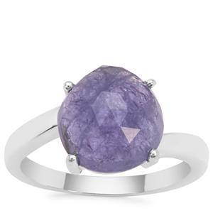 Rose Cut Tanzanite Ring in Sterling Silver 4.08cts