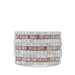2ct Cognac & White Diamond Sterling Silver Ring