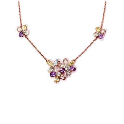 AMETHYST AND LEMON QUARTZ ROSE GOLD FLASH STERLING SILVER NECKLACE 8.39CTS