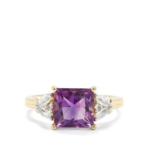 Moroccan Amethyst & White Zircon 9K Gold Ring ATGW 2.74cts