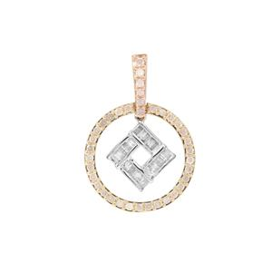 1/2ct Diamond 9K Three Tone Gold Pendant