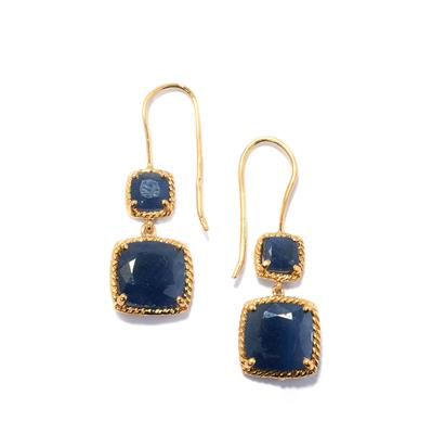 RATANAPURI BLUE SAPPHIRE EARRINGS IN GOLD PLATED STERLING SILVER 11.02CTS