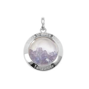 Tanzanite & Optic Quartz Sterling Silver Moments Pendant ATGW 11.69cts