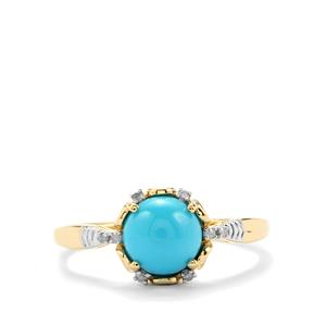 Sleeping Beauty Turquoise Ring with Diamond in 9K Gold 1.28cts
