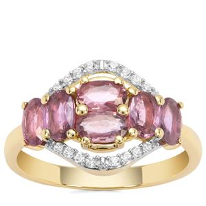Thai Ruby Ring with White Zircon in 9K Gold 1.84cts