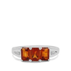 Madeira Citrine & White Zircon Sterling Silver Ring ATGW 1.50cts