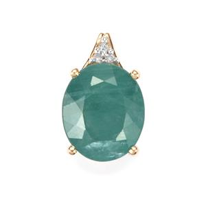 Grandidierite Pendant with Diamond in 10K Gold 4.51cts