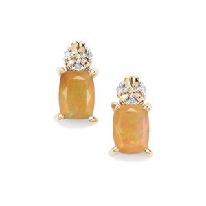 Ethiopian Opal Earrings with Diamond in 9K Gold 1.12cts