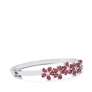 Malagasy Ruby & White Topaz Sterling Silver Oval Bangle ATGW 7.40cts (F)