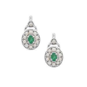 Zambian Emerald Earrings with Kaori Cultured Pearl in Sterling Silver