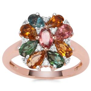 Rainbow Tourmaline Ring with White Zircon in Rose Gold Vermeil 2.10cts