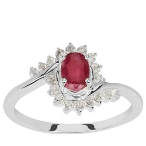 Luc Yen Ruby Ring with White Zircon in Sterling Silver 1.05cts
