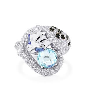 Kaleidoscope Gemstones Ring in Sterling Silver 2.96cts
