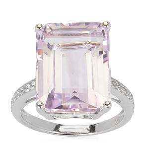11.92cts Rose De France Amethyst & White Topaz Sterling Silver Ring