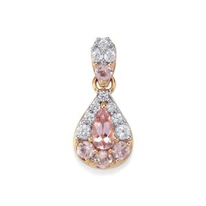 Imperial Pink Topaz Pendant with White Zircon in 10K Gold 1.48cts