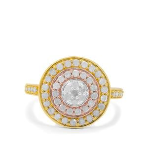 Diamond Ring in Three Tone Gold Plated Sterling Silver 0.76ct