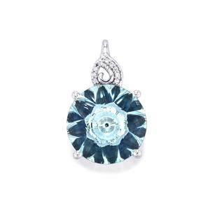 Lehrer KaleidosCut Sky Blue Topaz, Sri Lankan Sapphire Pendant with Diamond in 10K White Gold 6cts