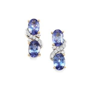 AA Tanzanite & Diamond 18K Gold Tomas Rae Earrings MTGW 2.46cts