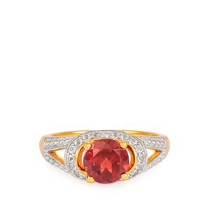 Garnet Ring with White Topaz in Gold Plated Sterling Silver 1.53cts