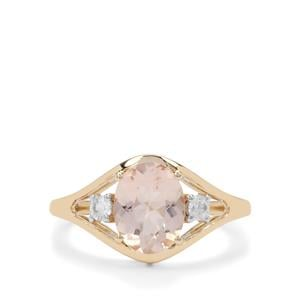 Nigerian Morganite Ring with White Zircon in 9K Gold 1.75cts