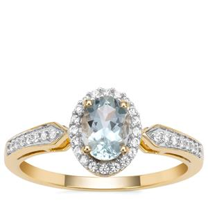 Santa Maria Aquamarine Ring with White Zircon in 9K Gold 0.85ct