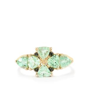 Paraiba Tourmaline Ring with Green Diamond in 10K Gold 1.58cts