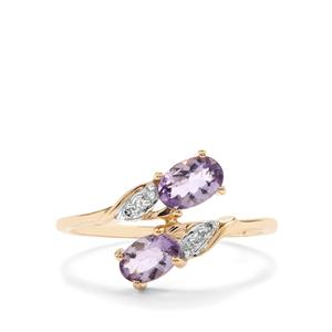 Mahenge Purple Spinel Ring with Diamond in 9K Gold 0.85ct