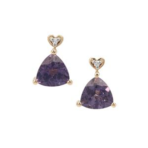 Blueberry Quartz Earrings with Diamond in 9K Gold 1.41cts