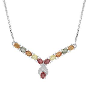 Songea Rainbow Sapphire Necklace with White Zircon in Sterling Silver 2.68cts