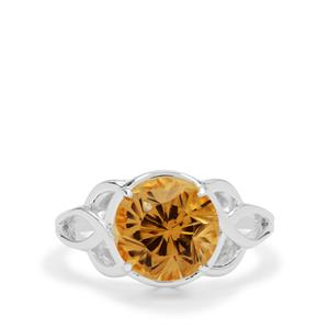 Polka Cut Champagne Quartz Ring in Sterling Silver 3.70cts