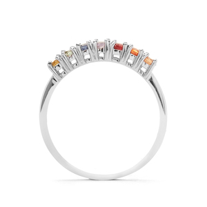 """The Rainbow"" Multi-Colour Sapphire Ring in Sterling Silver 0.70ct"