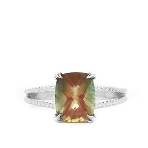 2.50ct Green Colour Change Andesine Sterling Silver Ring