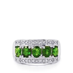 Chrome Diopside & White Topaz Sterling Silver Ring ATGW 2.25cts