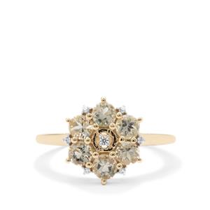 Teal Oregon Sunstone Ring with White Zircon in 9K Gold 1.05cts
