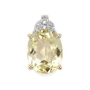 Minas Novas Hiddenite & Diamond 9K Gold Pendant ATGW 3.34cts
