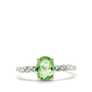 Paraiba Tourmaline Ring with Diamond in 14K Gold 0.97cts