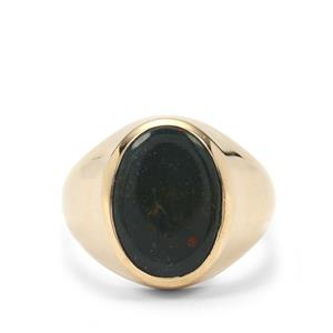 Bloodstone Ring in Gold Plated Sterling Silver 5cts