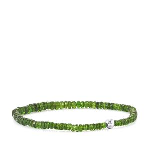 30ct Chrome Diopside Stretchable Graduated Bead Bracelet with Silver Ball
