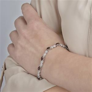 Cinnamon Zircon Bracelet with White Topaz in Sterling Silver 8.71cts