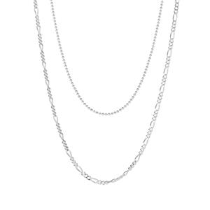 "18"" Sterling Silver Couture Figaro Chain and 18"" Sterling Silver Fine Ball Chain 5.00g"