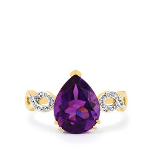 Zambian Amethyst Ring with Diamond in 10k Gold 3cts