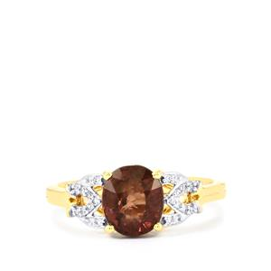 Bekily Colour Change Garnet Ring with Diamond in 14K Gold 2.29cts