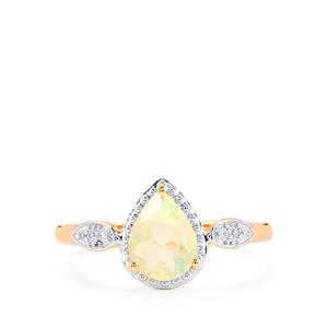 Ethiopian Opal Ring with White Zircon in 10k Rose Gold 0.62ct