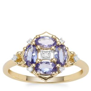 AA Tanzanite Ring with Diamond in 9K Gold 0.85ct